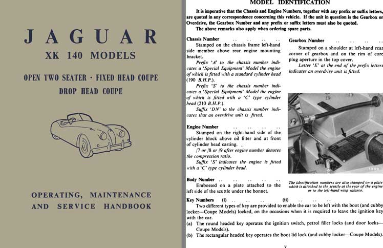 Jaguar 1955 - Jaguar XK 140 Models - Operating, Maintenance and Service Handbook 1955