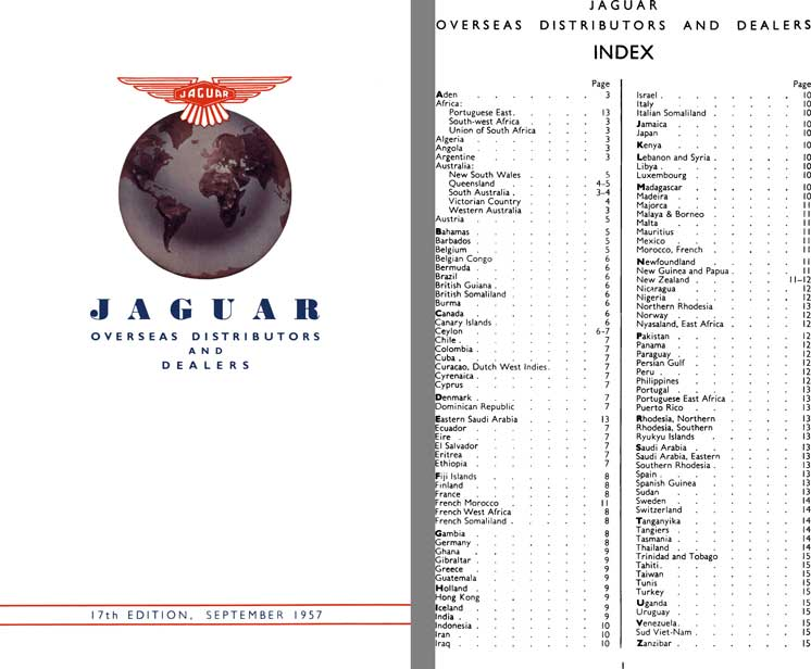 Jaguar 1957 - Jaguar Overseas Distributors and Dealers 17th Edition, September 1957