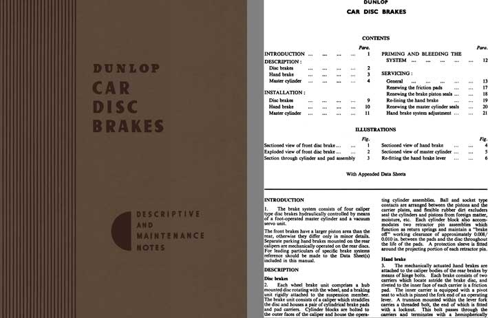 Jaguar 1958 - Dunlop Car Disc Brakes Descriptive and Maintenance Notes 1958 (Service & Shop Manual)