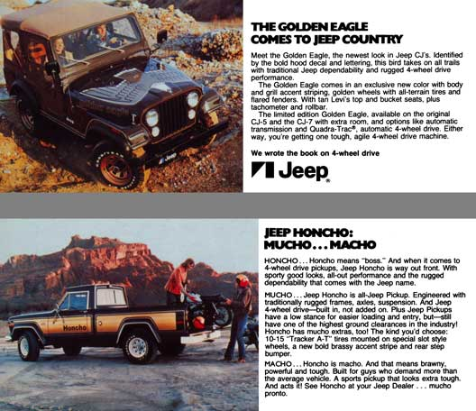 Jeep c1977 - The Golden Eagle Comes to Jeep Country - Jeep Honcho: Mucho…Macho