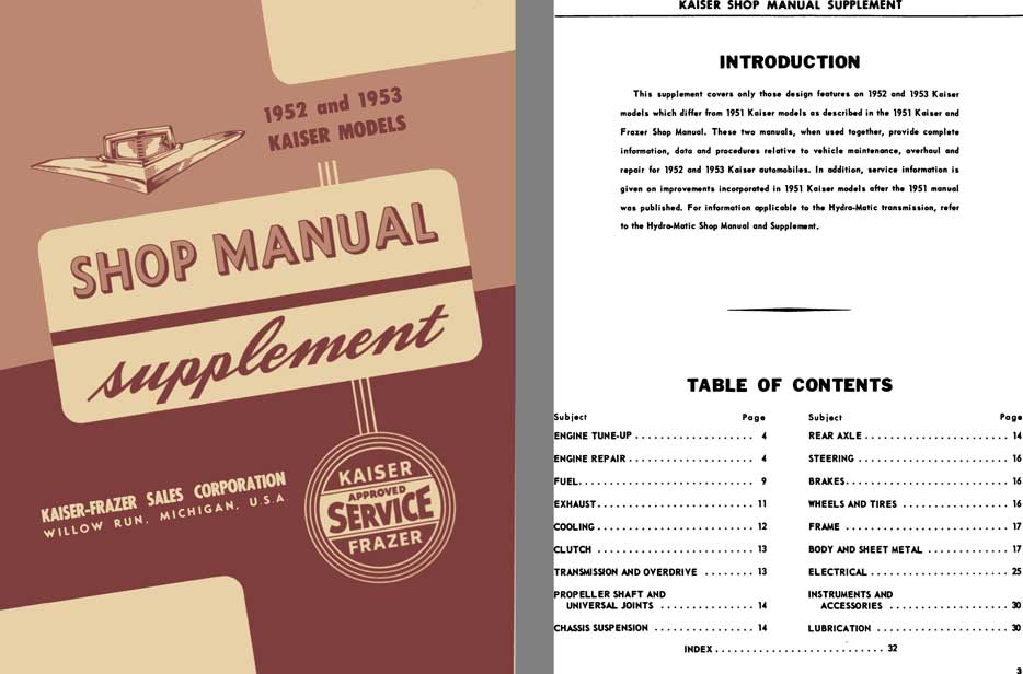 Kaiser 1952 & 1953 - 1952 & 1953 Kaiser Models Shop Manual Supplement