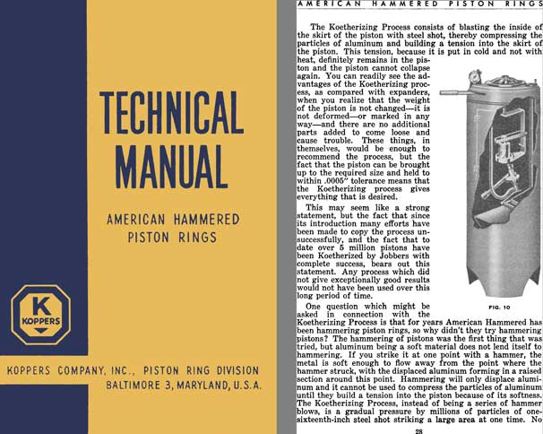 Koppers Technical Manual - American Hammered Piston Rings (c1941)