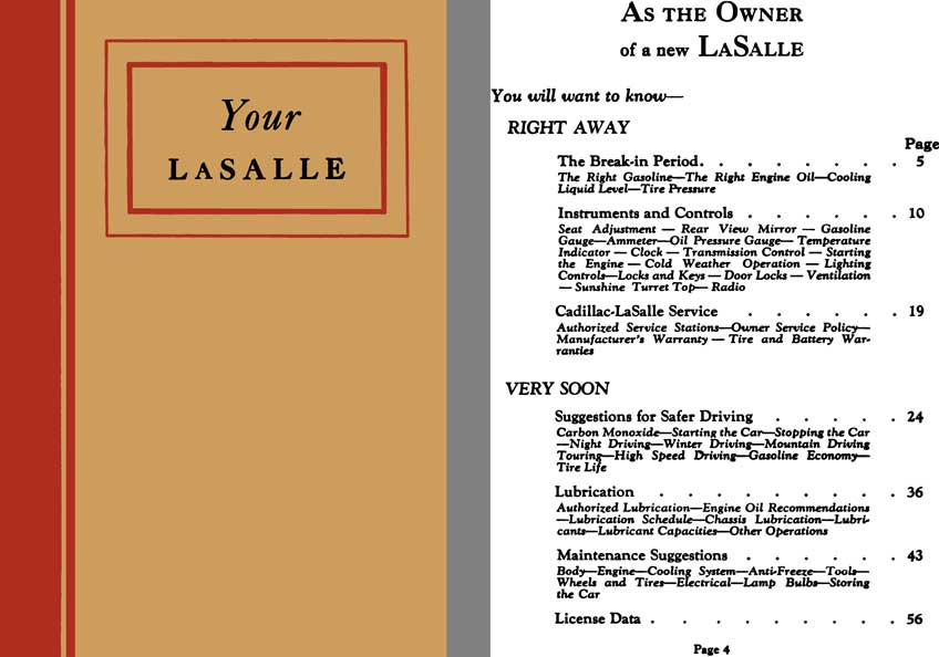 LaSalle c1939 - Your LaSalle - Owners Manual LaSalle V-8 Series 39 - 50
