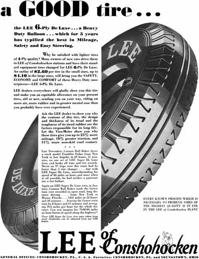 Lee Tire 1930 - Lee Tire Ad - a Good tire… the Lee 6-Ply DeLuxe… a Heavy Duty Balloon…