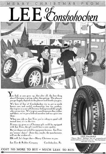 Lee Tires 1927 - Lee Tire Ad - Merry Christmas Form Lee of Conshohocken
