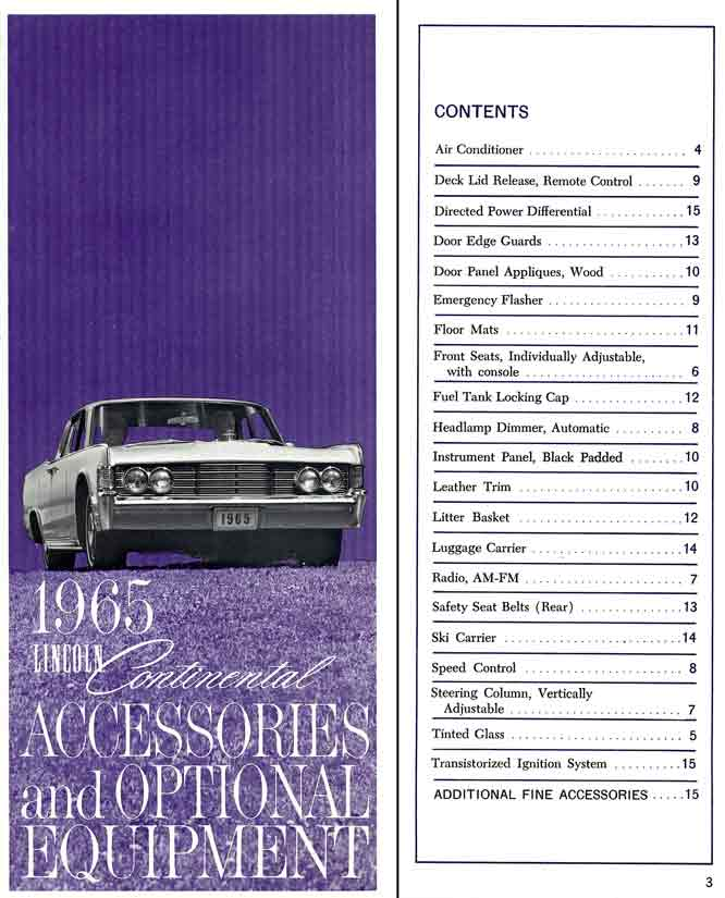 Continental 1965 Lincoln - Accessories and Optional Equipment