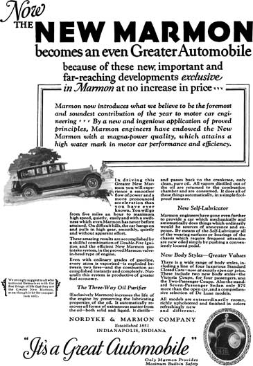 Marmon 1925 - Marmon Ad - Now the New Marmon becomes an even Greater Automobile