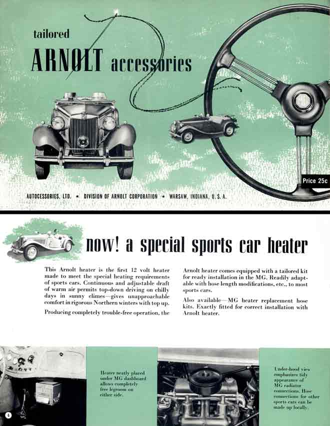 Arnolt Accessories - MG tailored Arnolt Accessories