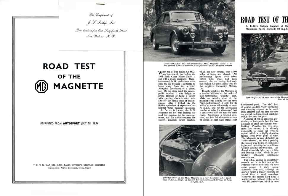 AutoSport - Road test of the MG Magnette - MG Magnette 1954