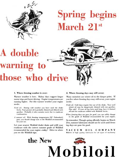Mobiloil c1929 - Mobiloil Ad - Spring begins March 21st - A double warning to those who drive