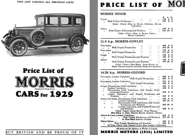 Regress Press Morris 1929 Price List Of Morris Cars For 1929