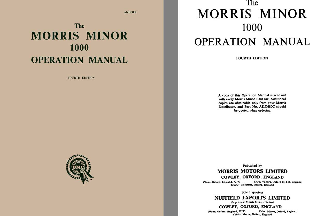Morris Minor 1958 - The Morris Minor 1000 Operation Manual 4th Edition