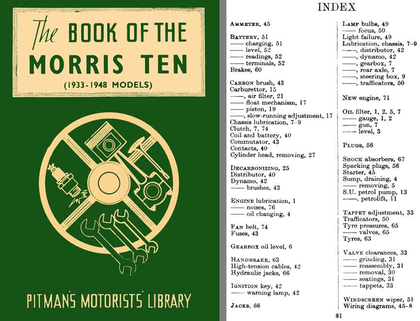 Morris Ten Manual - The Book of the Morris Ten (1933 - 1948 Models) - Pitman's Motorists Library