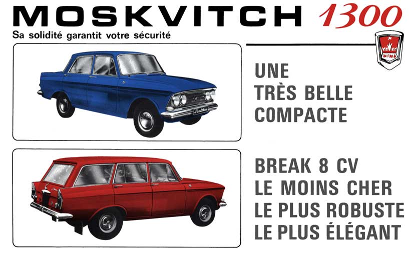 Moskvitch 1300 Saloon & Estate (c1970) French Text