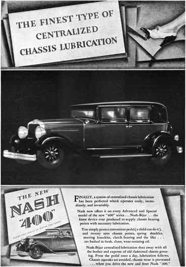 Nash 1929 - Nash Ad - Nash 400 - The Finest Type of Centralized Chassis Lubrication