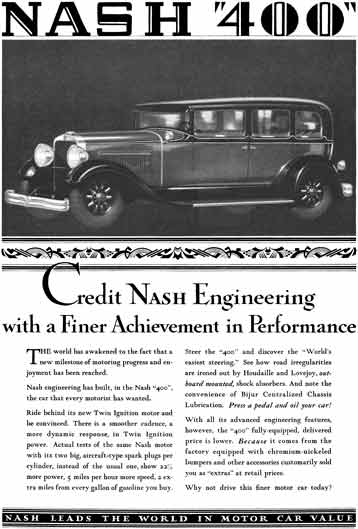 Nash 1929 - Nash Ad - Nash 400 - Credit Nash Engineering with a Finer Achievement in Performance