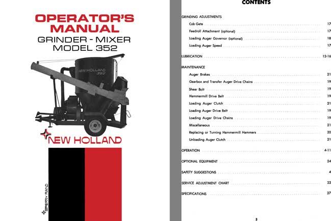 regress press new holland grinder mixer model 352 operators manual rh regresspress com 2013 New Holland Feed Grinder new holland 352 grinder mixer specs