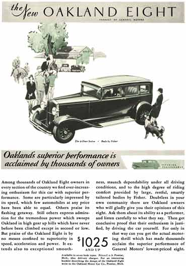 Oakland 1930 - Oakland Ad - the New Oakland Eight - Oakland's superior performance is acclaimed by..