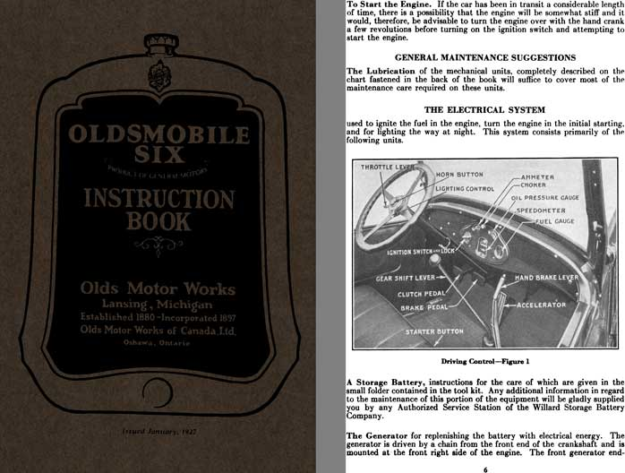 Oldsmobile 1927 - 1927 Oldsmobile Six Instruction Book