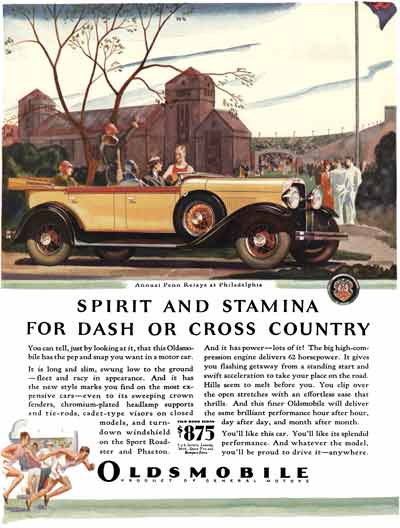 Oldsmobile 1929 - Oldsmobile Ad - Spirit and Stamina for Dash or Cross Country - Annual Penn Relays