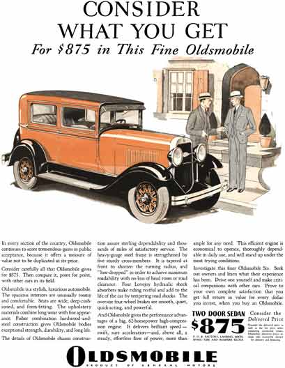 Oldsmobile 1929 - Oldsmobile Ad - Consider What You Get For $875 in This Fine Oldsmobile