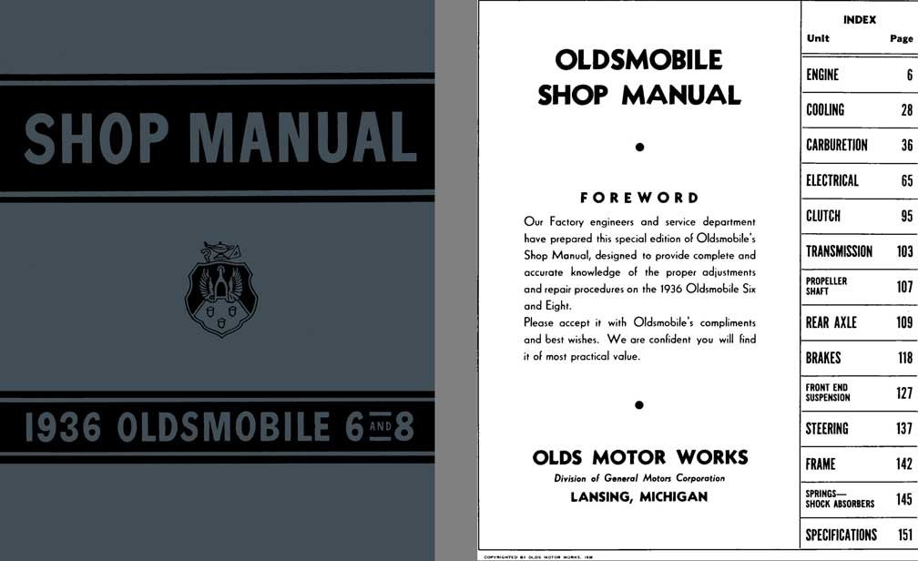 Oldsmobile 1936 - Shop Manual 1936 Oldsmobile 6 and 8