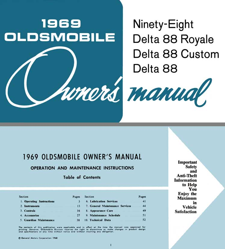 Oldsmobile 1969 Owner's Manual - Ninety-Eight, Delta 88 Royale, Delta 88 Custom, Delta 88