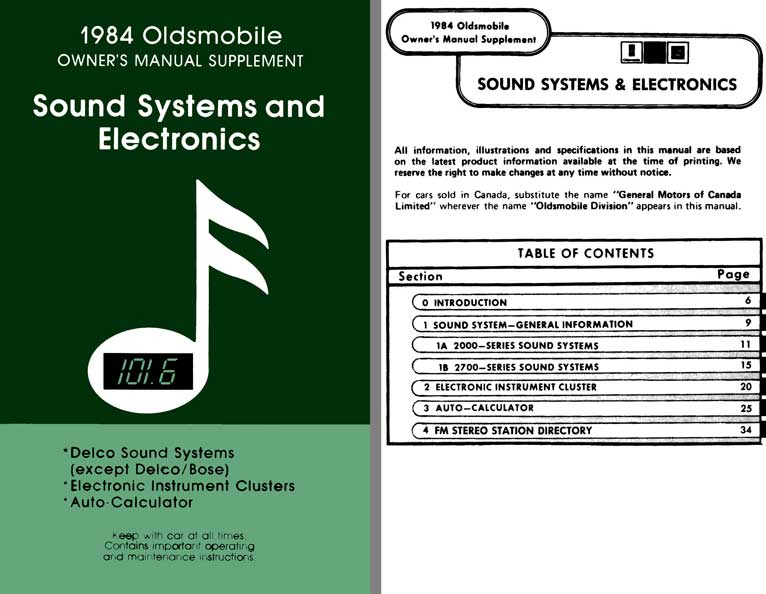 Oldsmobile 1984 Owners Manual Supplement - Sound Systems and Electronics