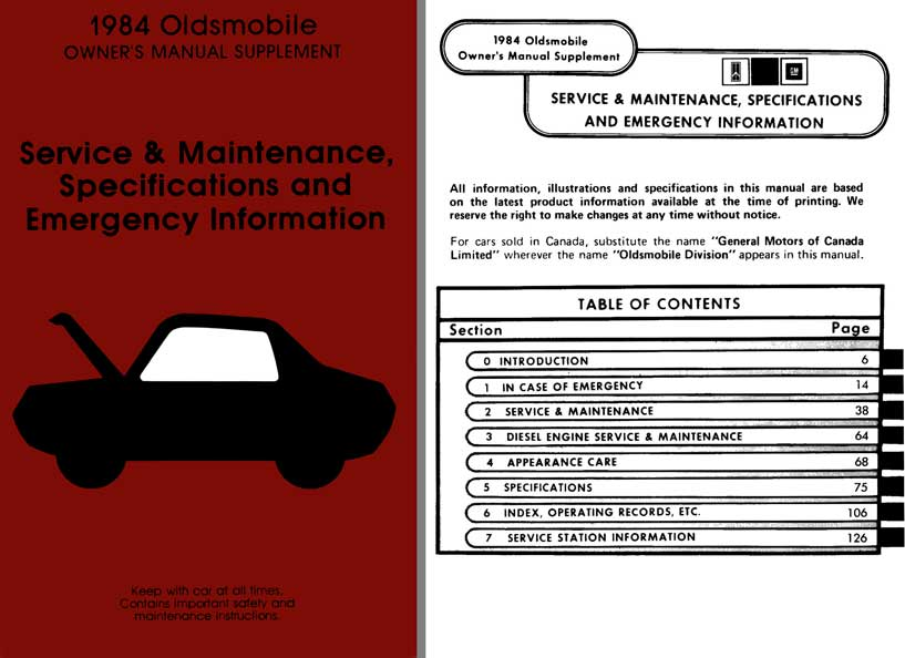 Oldsmobile 1984 Owners Manual Supplement - Service & Maintenance, Specifications & Emergency Info