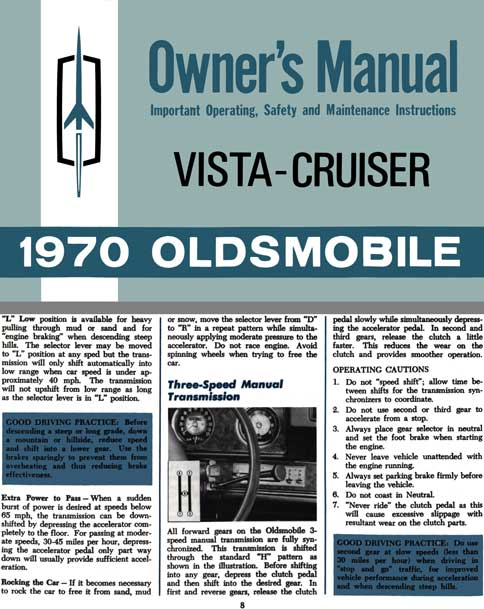 Oldsmobile Vista-Cruiser 1970 Owner's Manual - Owner's Manual Vista-Cruiser 1970 Oldsmobile