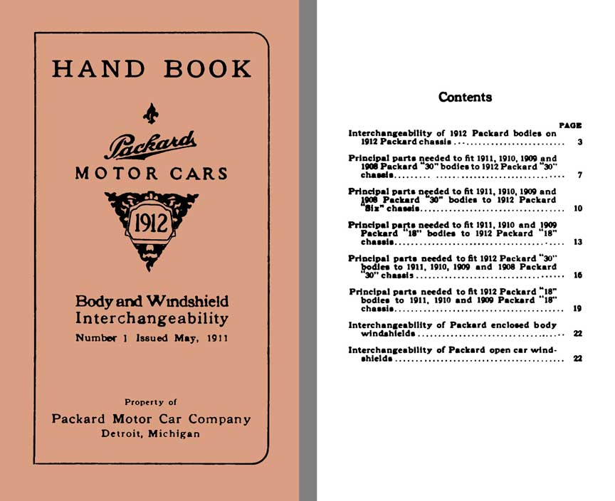Packard 1912 - Hand Book Packard Motor Cars 1912 - Body & Windshield Interchangeabilty