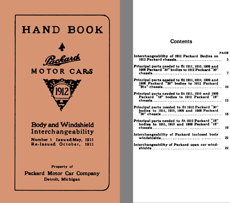Packard 1912 - Hand Book Packard Motor Cars- Body & Windshield Interchangeability -Reissued Oct 1911
