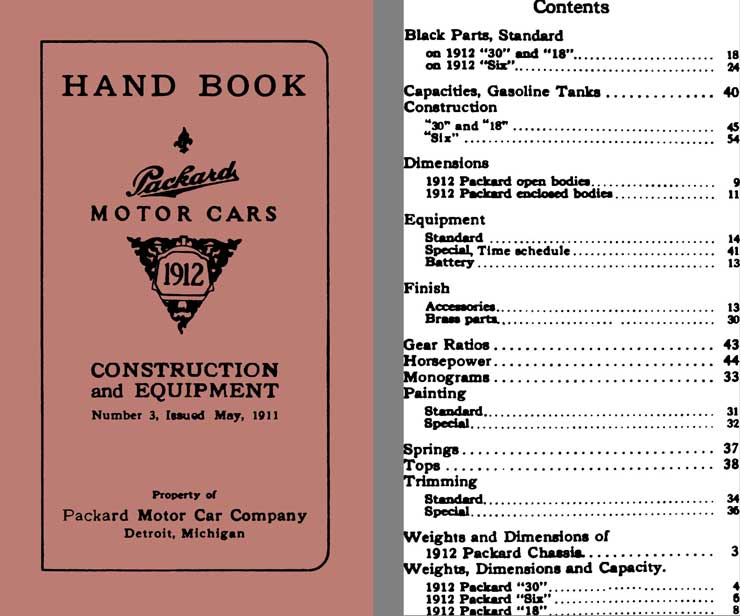 Packard 1912 - Handbook Packard Motor Cars 1912 - Construction & Equipment, No 3 May 1911