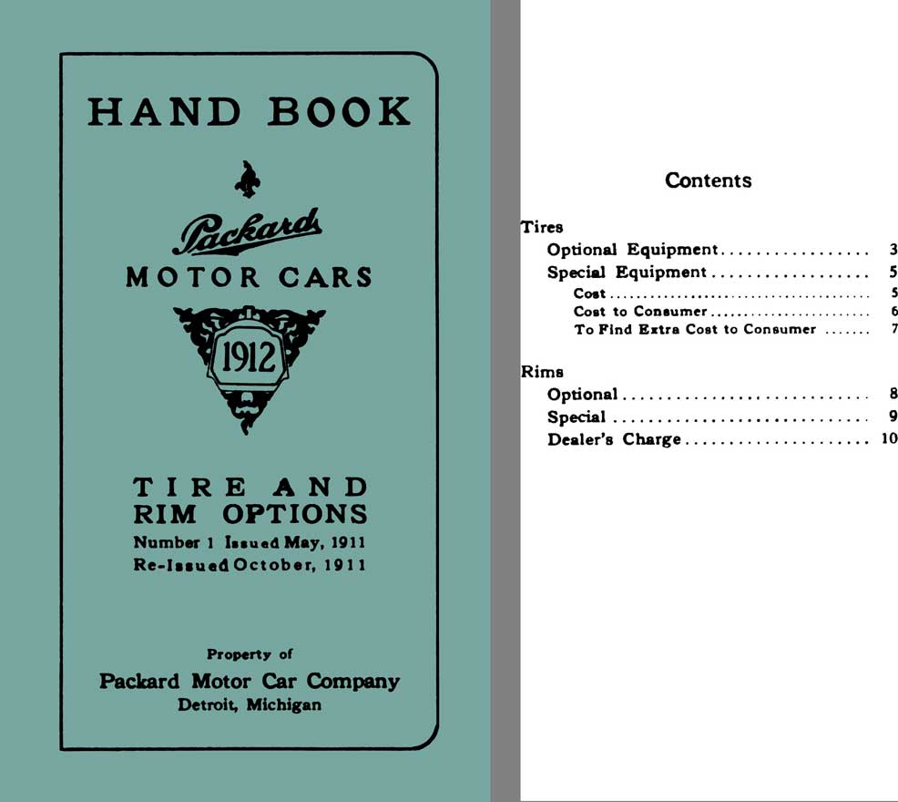 Packard 1912 - Handbook Packard Motor Cars 1912 - Tire & Rim Options, No. 1 ReIssued October 1911