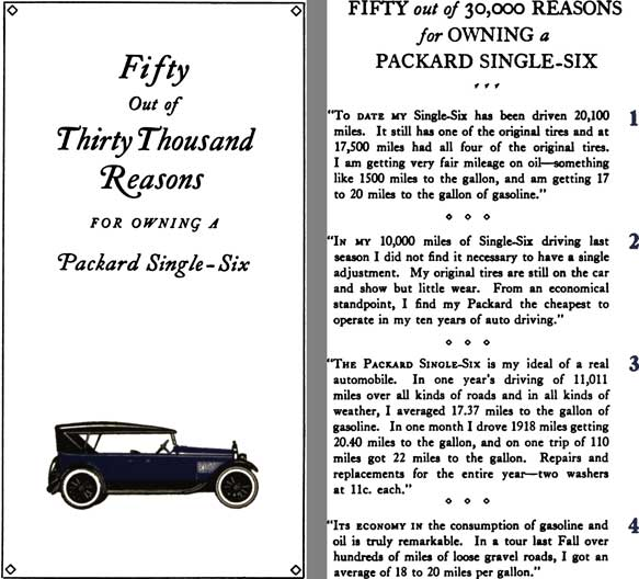 Packard 1922 - Fifty Out of Thirty Thousand Reasons for Owning a Packard Single Six