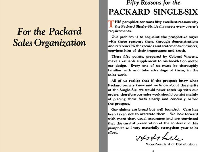 Packard 1924 - For The Packard Sales Organization - Fifty Reasons for the Packard Single Six