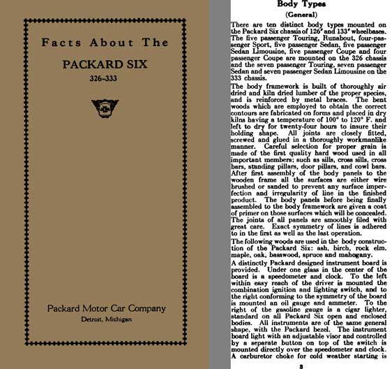 Packard 1925 - Facts About The Packard Six 326 - 333