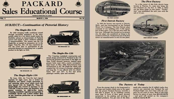 Packard 1926 - Packard Sales Educational Course - Subject: Continuation of Pictorial History