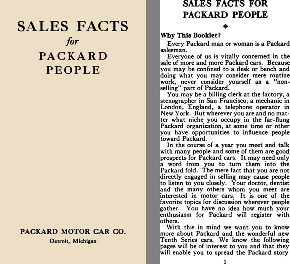 Packard 1933 - Sales Facts for Packard People