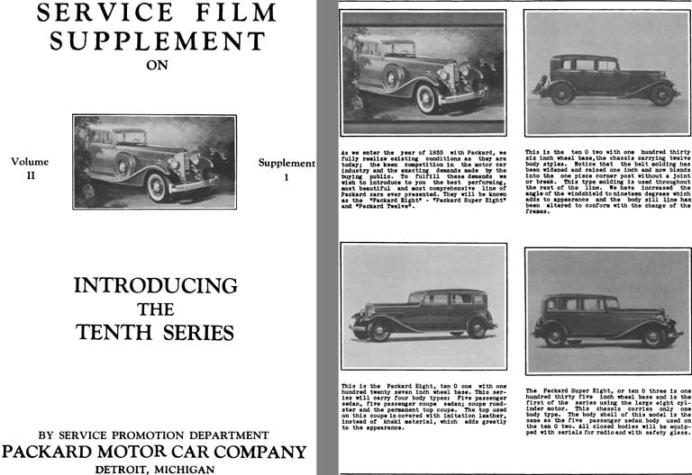 Packard 1933 - Service Film Supplement on Introducing the Tenth Series - Vol II Supplement 1