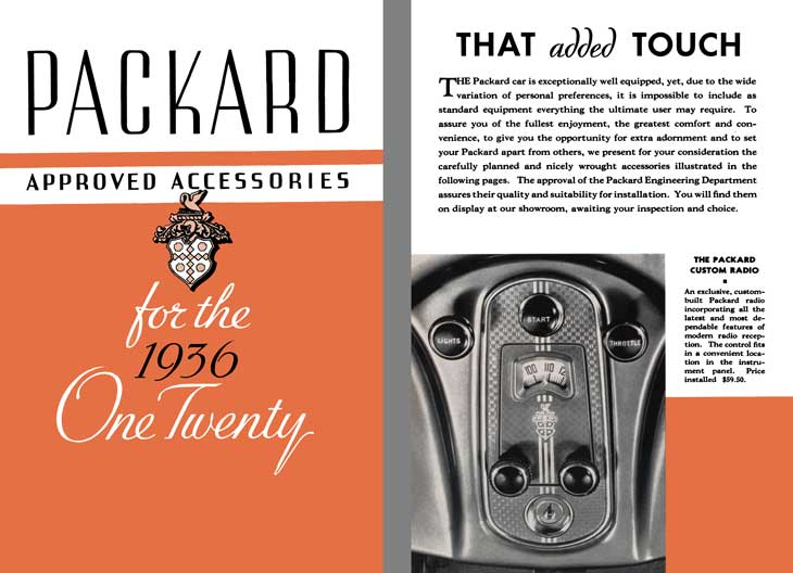 Packard 1936 - Packard Approved Accessories for the 1936 One Twenty