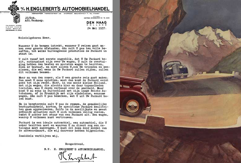 Packard 1937 - Customer Letter (in Dutch) with Packard Car Image