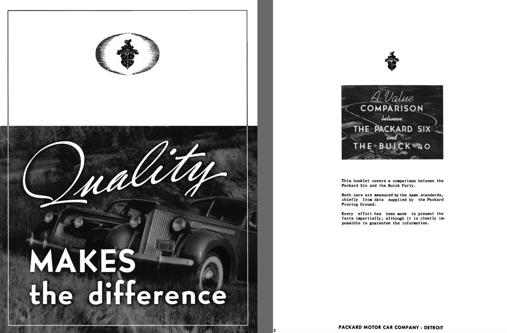Packard 1939 - Quality Makes the Difference - A Value Comparison Between The Packard Six & Buick 40