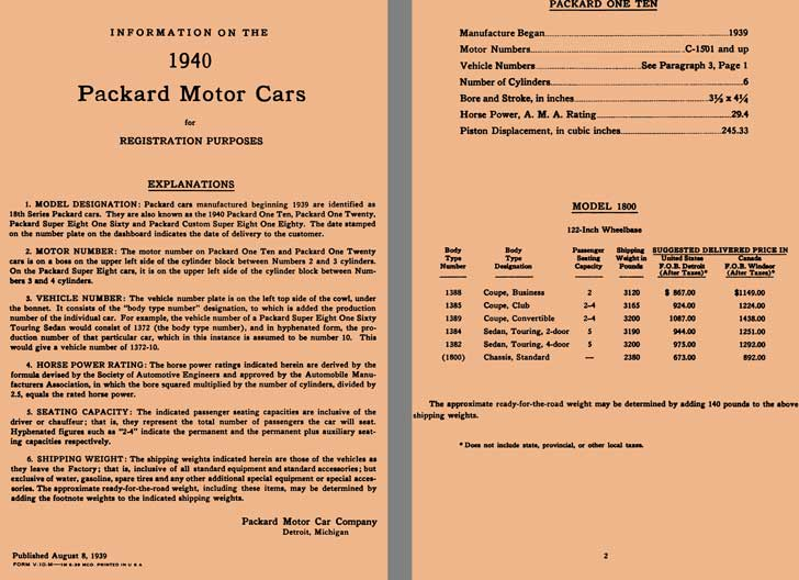 Packard 1940 - Information About 1940 Packard Motor Cars for Registration Purposes