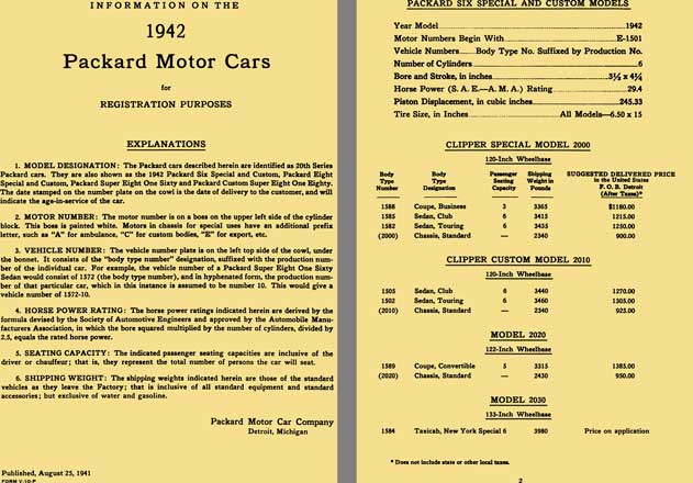 Packard 1942 - Information on the 1942 Packard Motor Cars for Registration Purposes