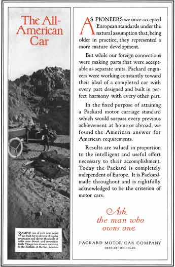 Packard c1920 - Packard Ad - The All American Car - Image in foothills of Test Camp of San Jacintos