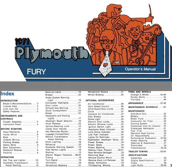 Fury Plymouth 1971 - 1971 Plymouth Fury  Operator's Manual