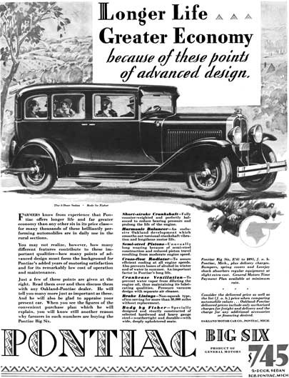 Pontiac 1929 - Pontiac Ad - Longer Life Greater Economy because of these points of advanced design