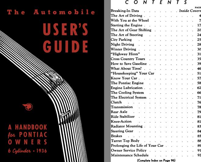 Pontiac 1936 - The Automobile User's Guide - A Handbook for Pontiac Owners 6 Cylinder 1936