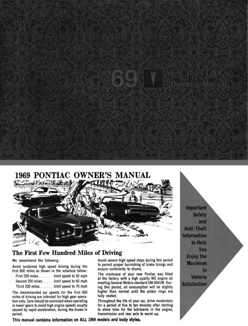 Pontiac 1969 - 69 Pontiac Owners Manual